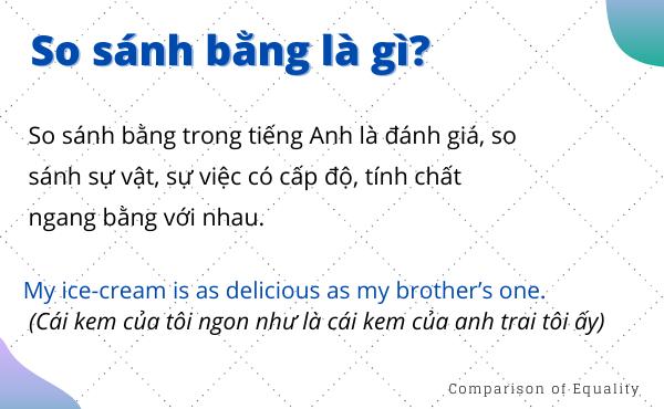Khái niệm câu so sánh bằng trong tiếng Anh