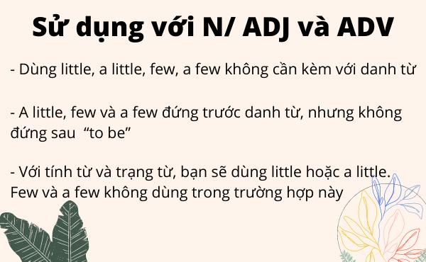 Cách dùng little, a little, few, a few với N/ Adj/ Adv