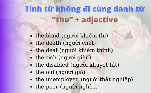 Các từ được tạo từ THE + ADJ