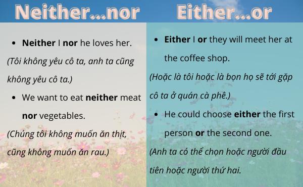 Phân biệt neither...nor và either...or