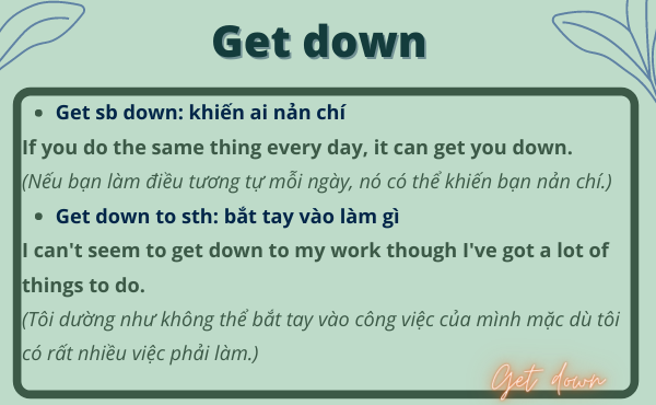 Phrasal verb with Get down