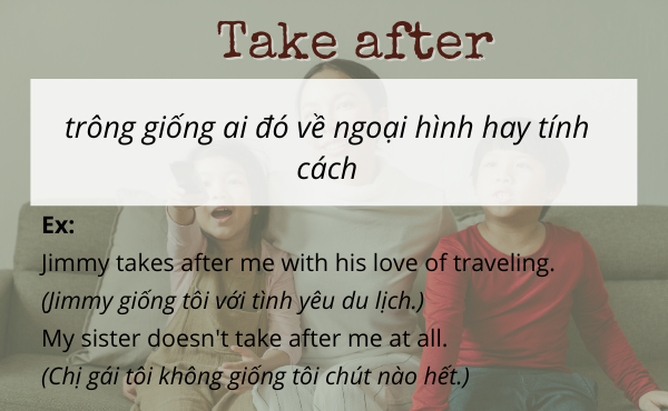 Phrasal verb with take after (trông giống)