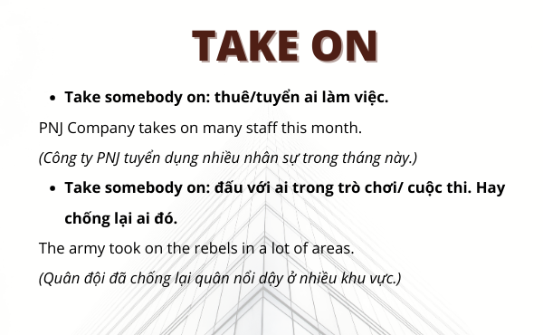 Phrasal verbs with take on