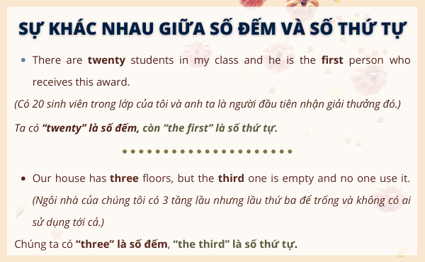 Ví dụ giữa sự khác biệt giữ số đếm và số thứ tự