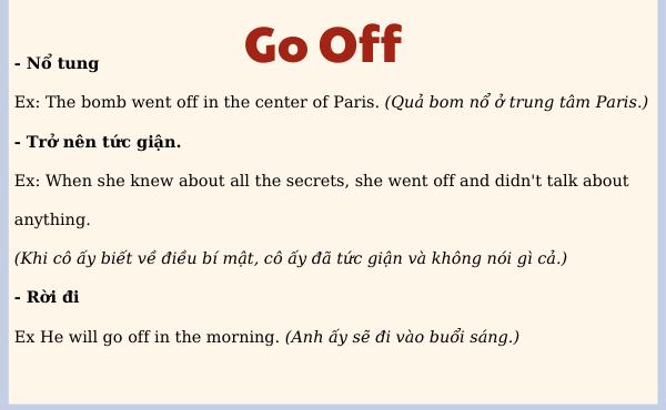 Nghĩa và ví dụ của Go off