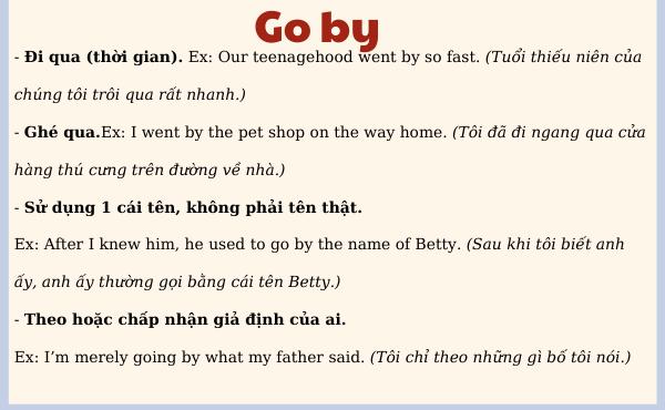Nghĩa và ví dụ của phrasal verb of go by