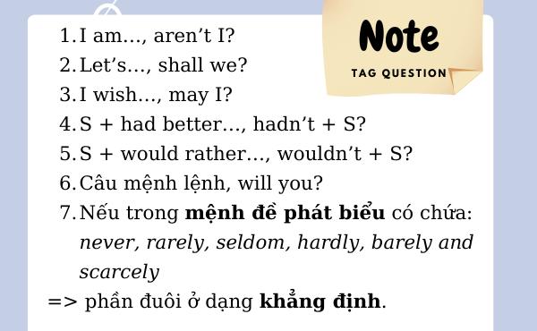 Những lưu ý về động từ đối với câu tag question