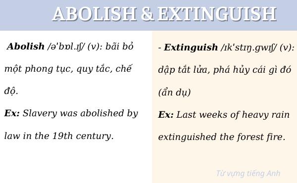 Phân biệt abolish và extinguish