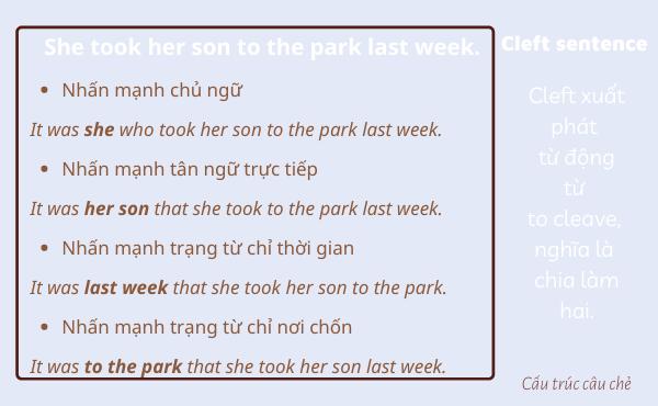 Ví dụ của câu chẻ trong tiếng Anh