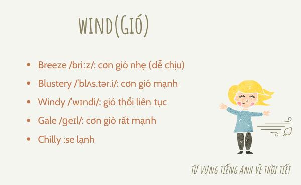 Từ vựng tiếng Anh về gió