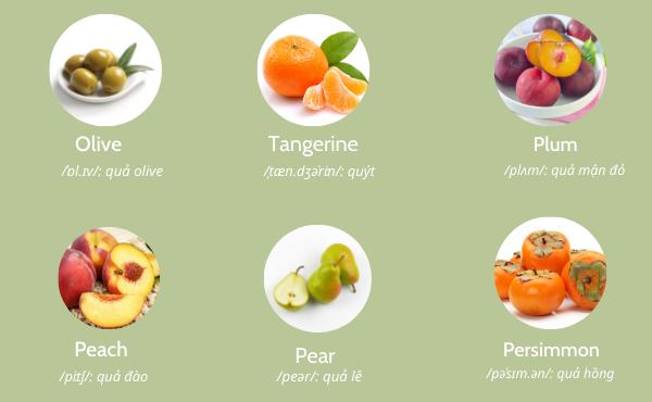 Từ vựng trái cây tiếng Anh